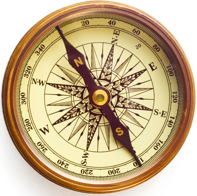 Old compass on white background with soft shadow